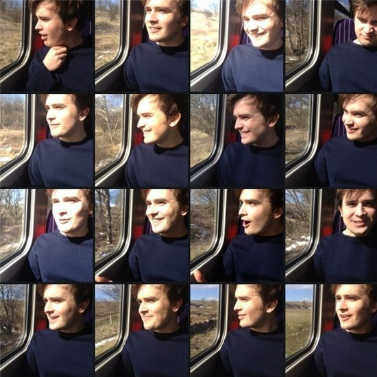 Grid of photos of Sam on the train