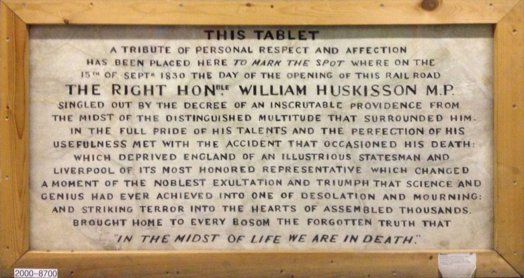 Photo of a marble tablet inscribed with a tribute to William Huskisson