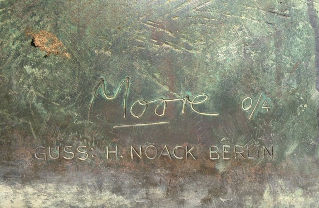Photo of Henry Moore's signature on a sculpture