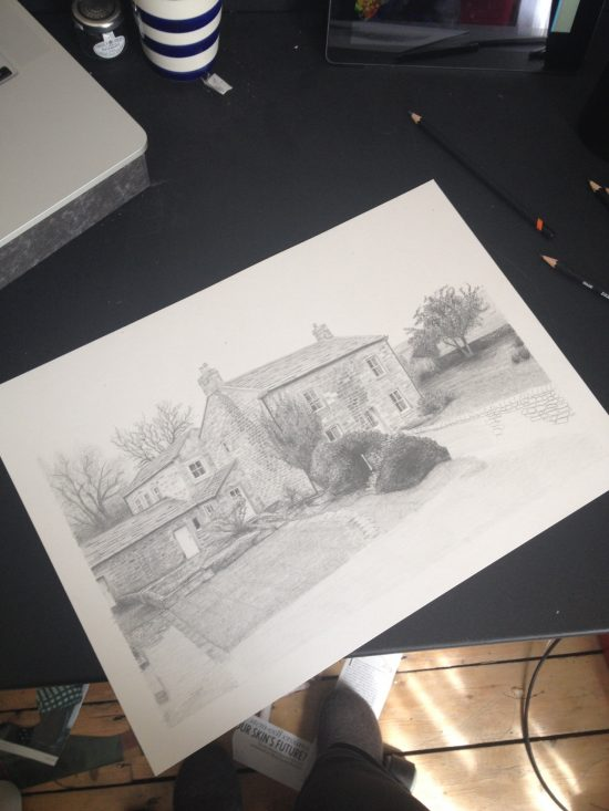 Partly-finished graphite drawing of farmhouse