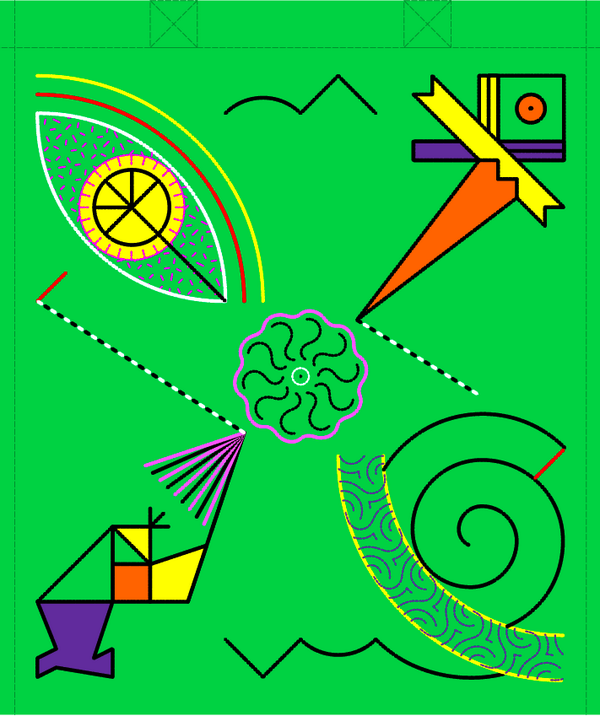 Brightly-coloured totebag design by Peter Nencini