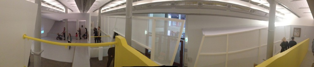 Panoramic photo of Claud Parent's architectural intervention in the Tate Liverpool