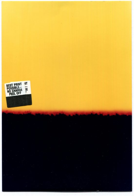 Black, yellow and red failed photo print