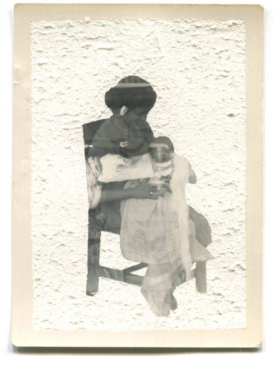Altered double-exposed photograph of a mother and baby