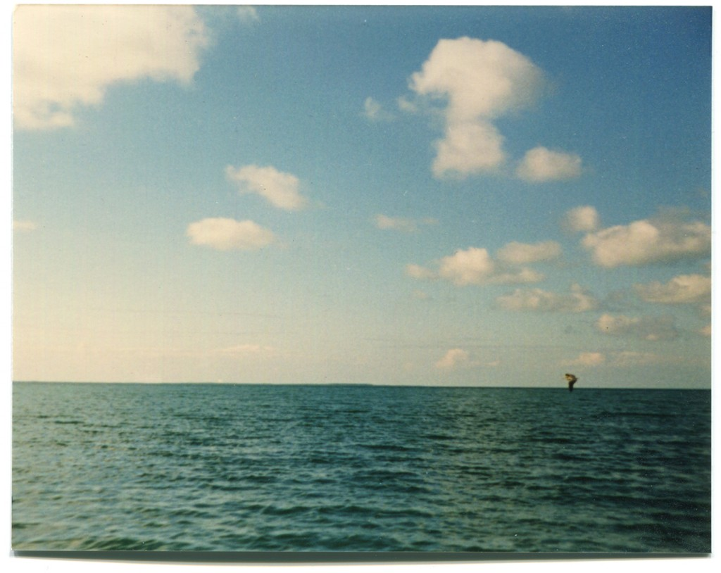 Photo of blue ocean and sky with object on horizon line