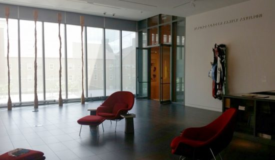 Photo of the entrance to the Alfond-Lunder Family Pavilion at the Colby College Museum of Art