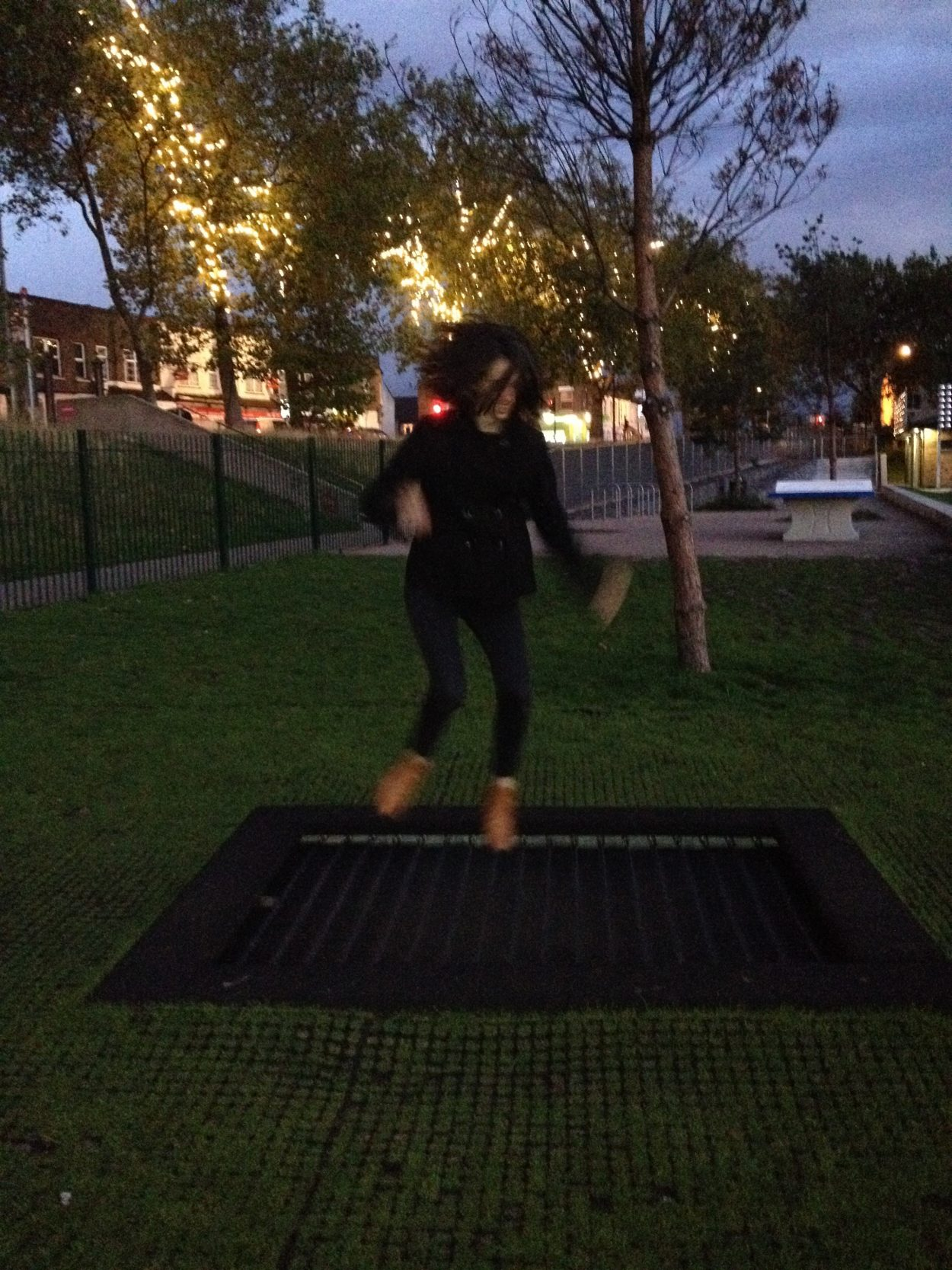 Piper Haywood jumping on trampoline in Drapers Field, London