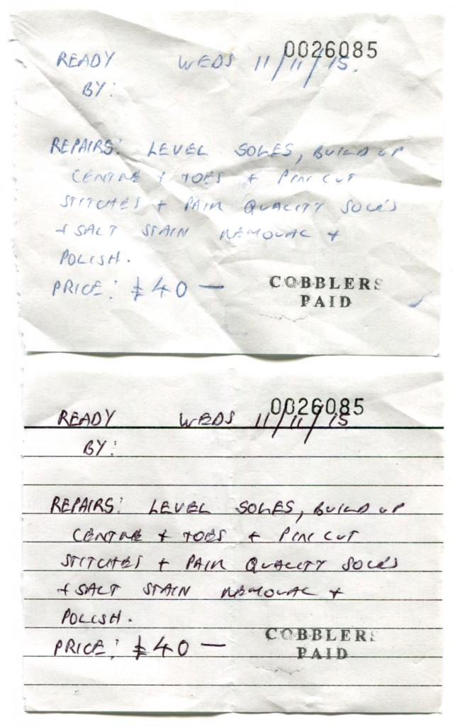 Work slip from Daniel, the cobbler on Francis Road