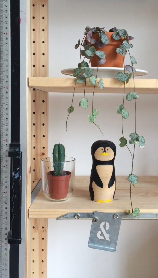 Two plants, a ruler, an ampersand stencil, and a penguin figurine on a shelf