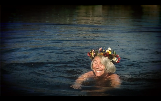 Screenshot of Tove Jansson swimming in Finland from the BBC documentary Moominland Tales: The Life of Tove Jansson