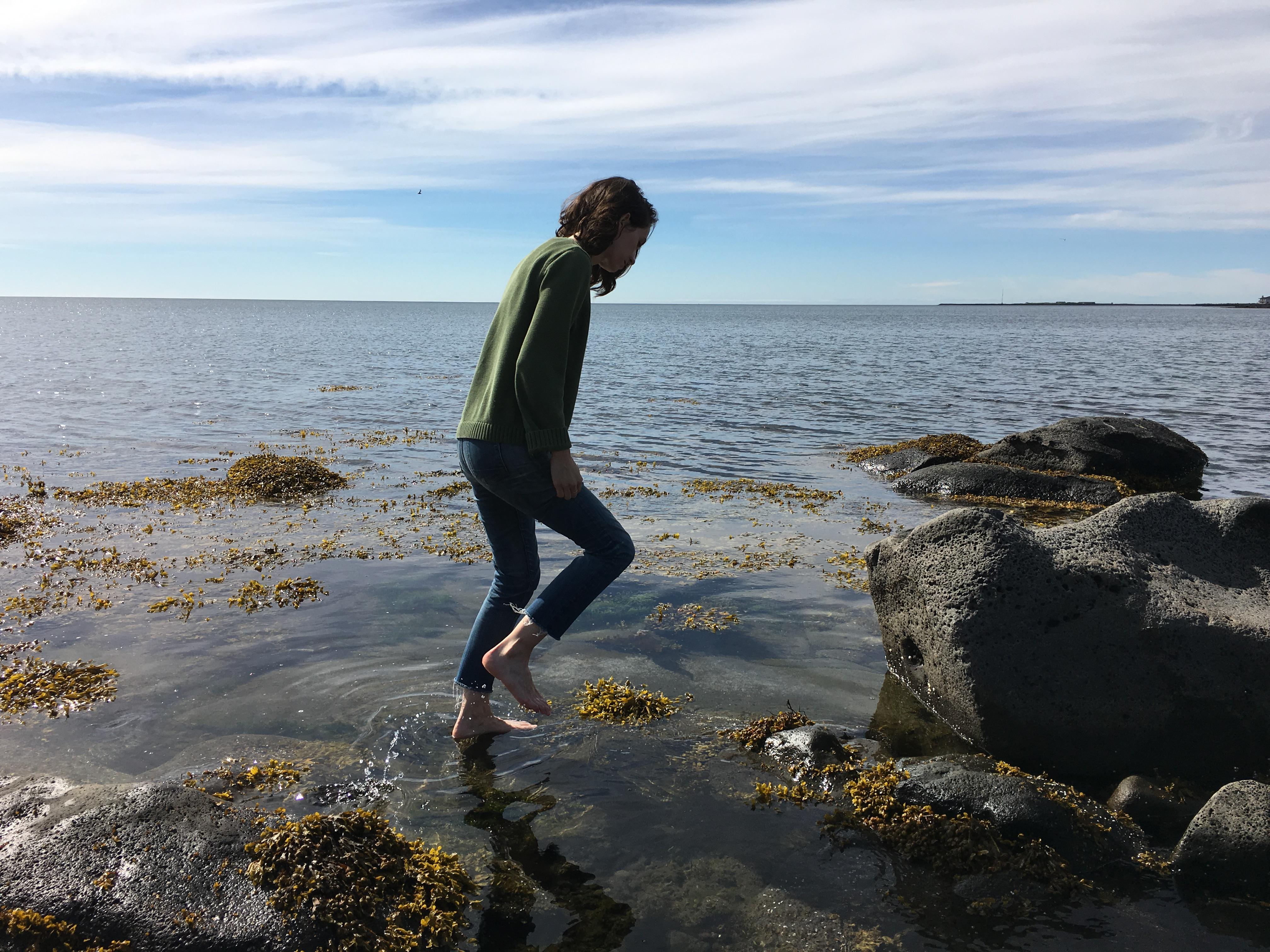 Wading in the water at Faxaskjól in Reykjavík