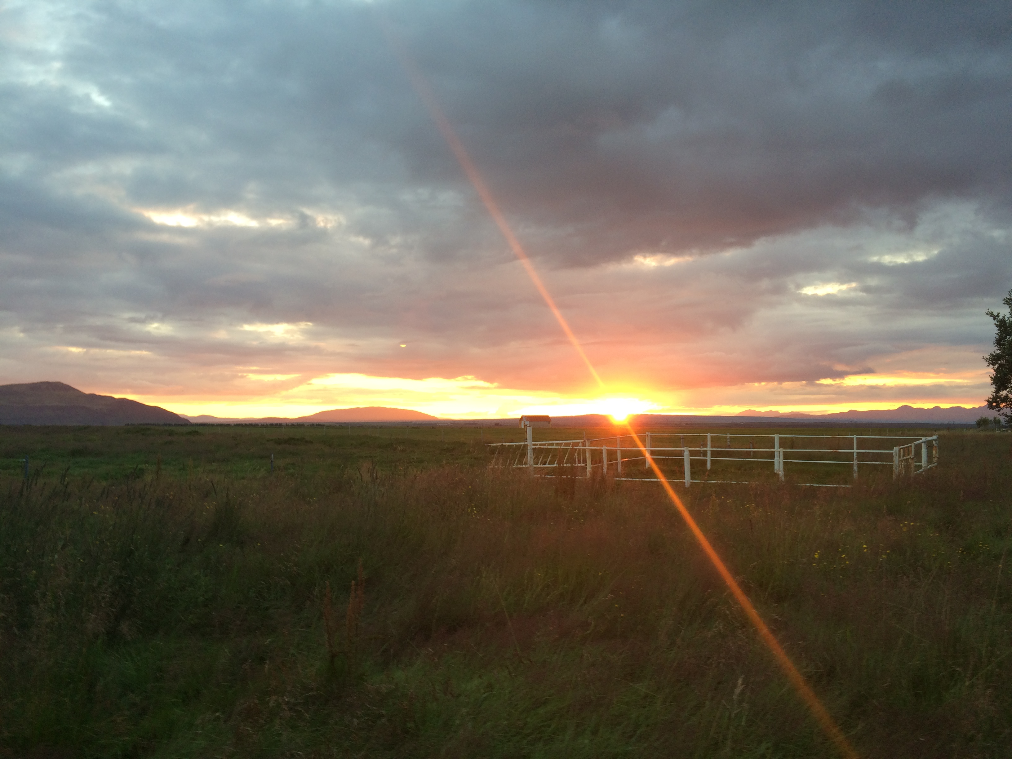 Photo of a summer sunset in southern Iceland
