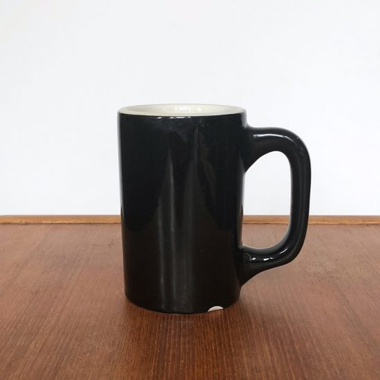Black mug from Bob's dining hall at Colby College