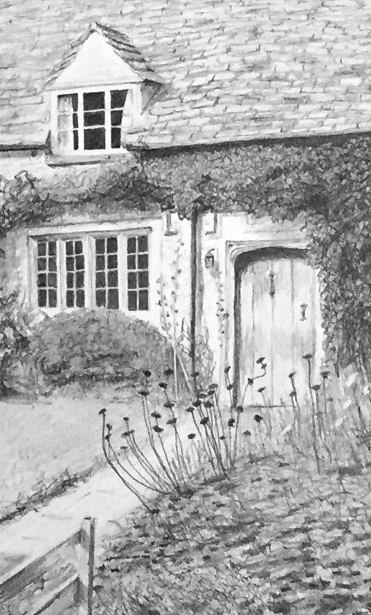 Detail from graphite drawing of house in Oxfordshire