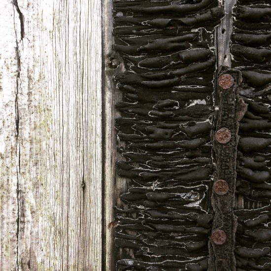 Close up of weathered boards and tarring in Dungeness, UK