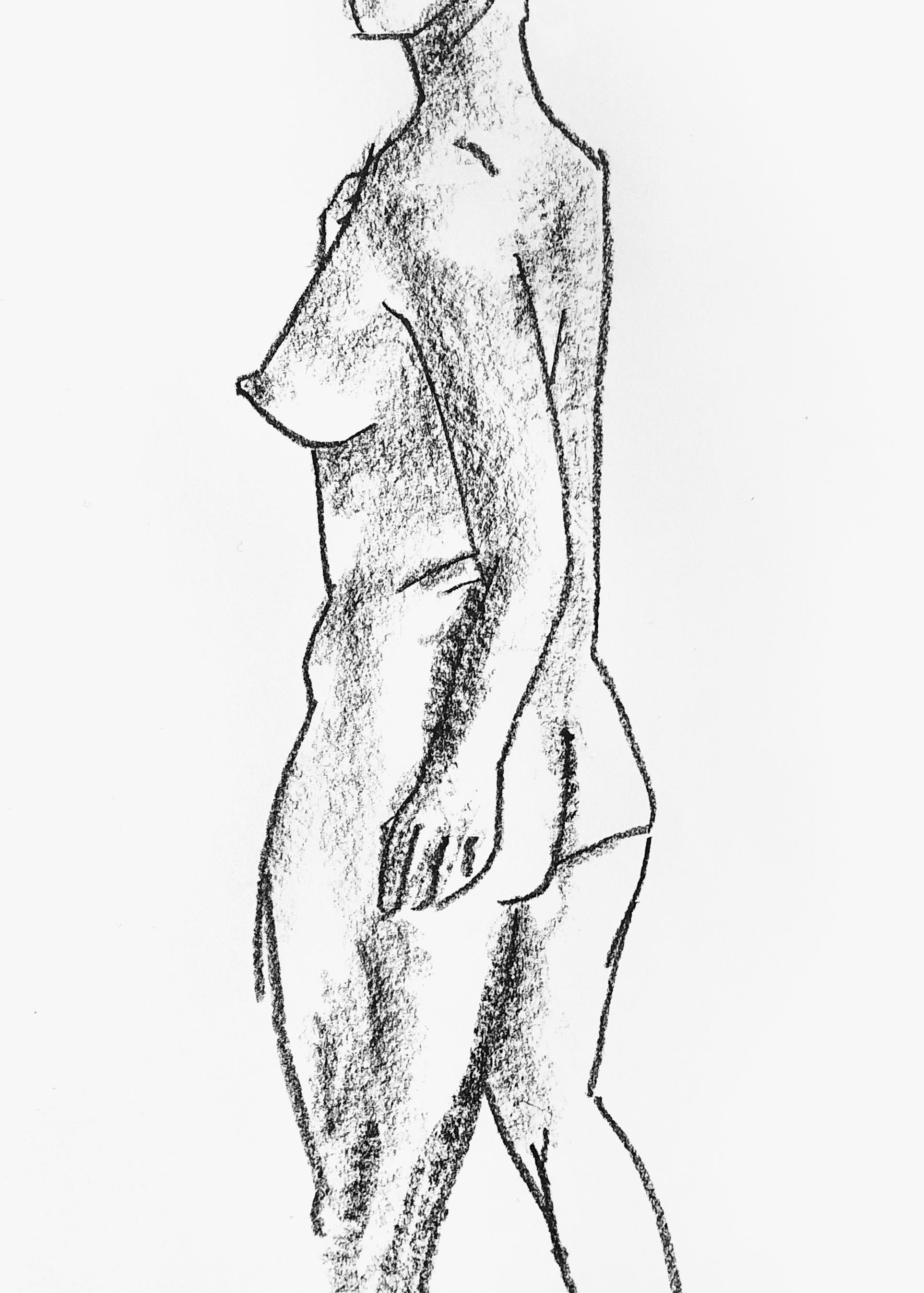 10 minute life drawing in conté crayon