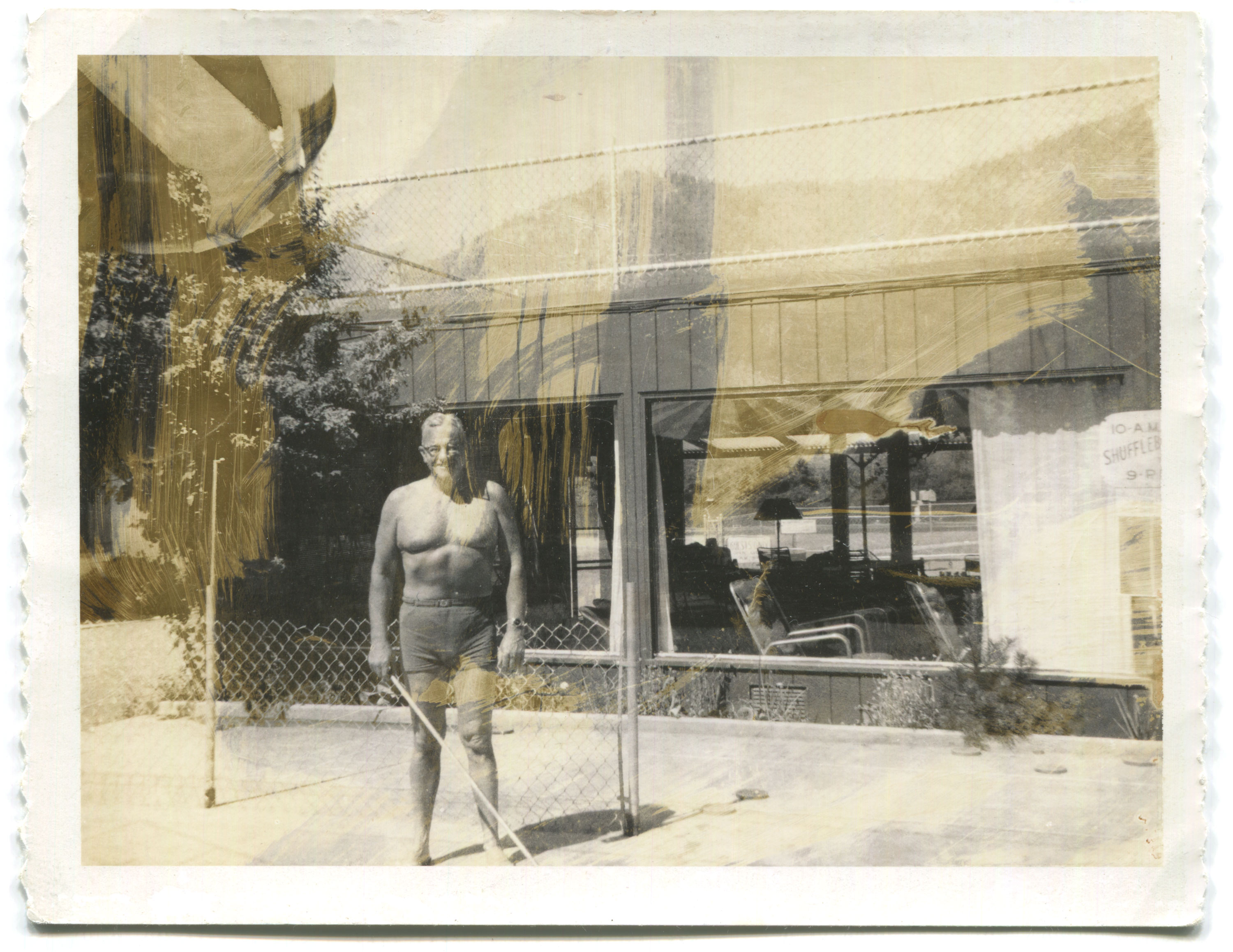 Damaged black and white photo of an older shirtless man playing shuffleboard at a motel