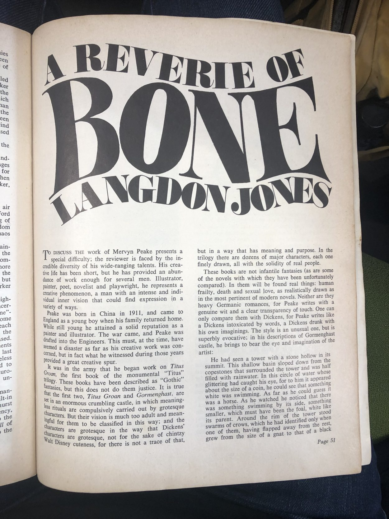 Langdon Jones article from New Worlds