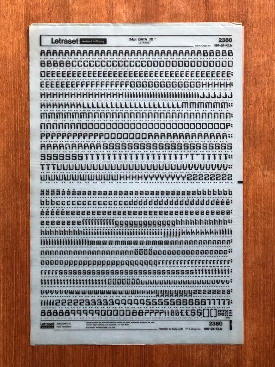 Sheet of black dry-transfer type in 24pt Data 70