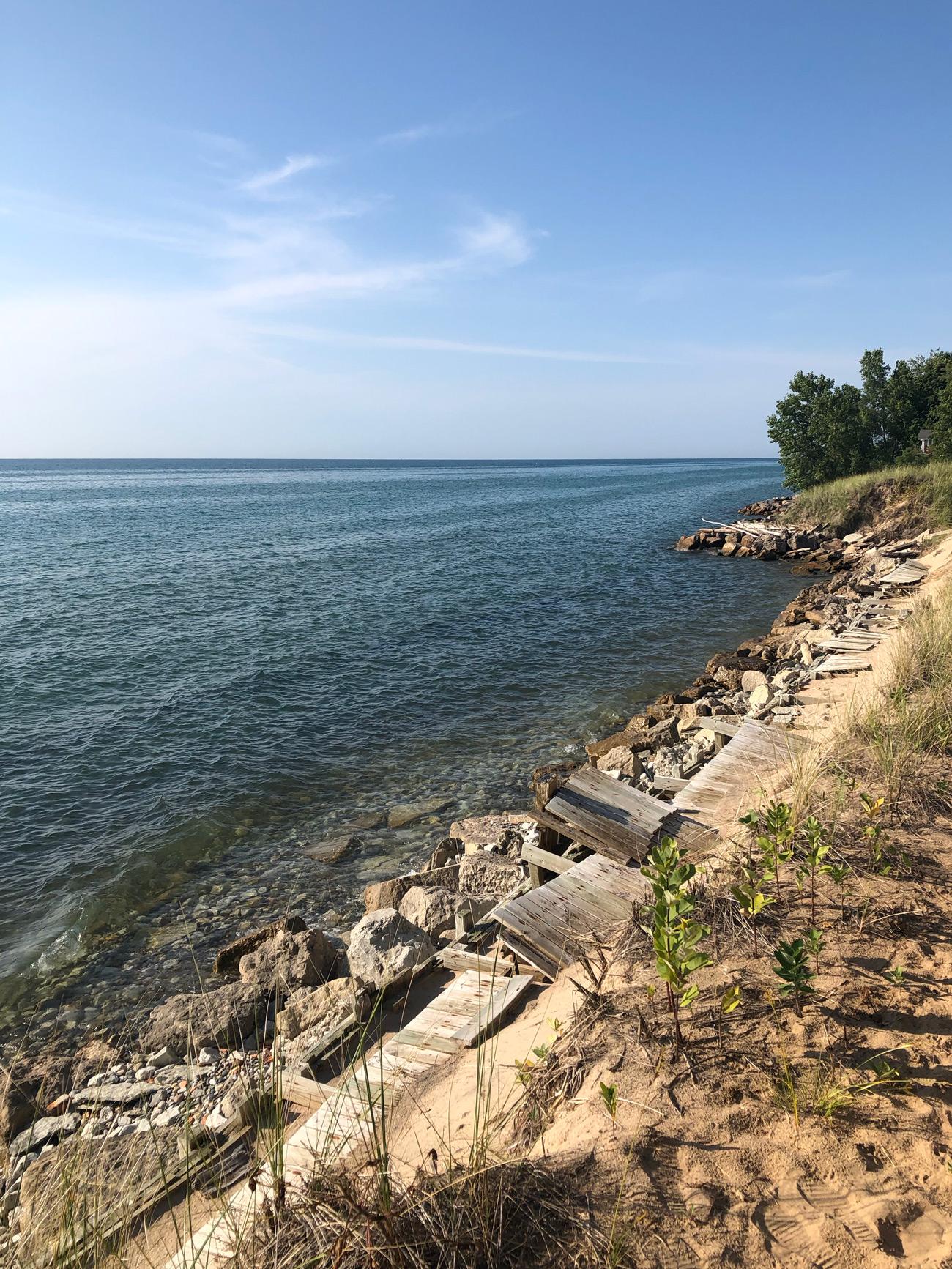 Storm-damaged boardwalk along Lake Michigan