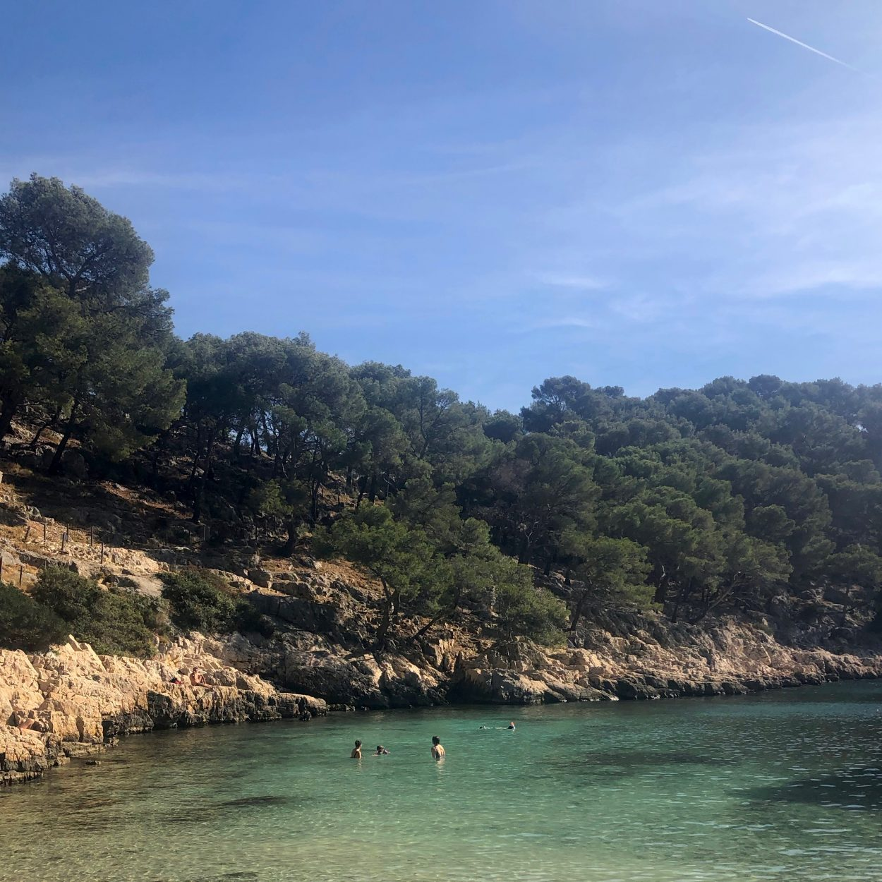 Swimming in Calanque de Port Pin in France