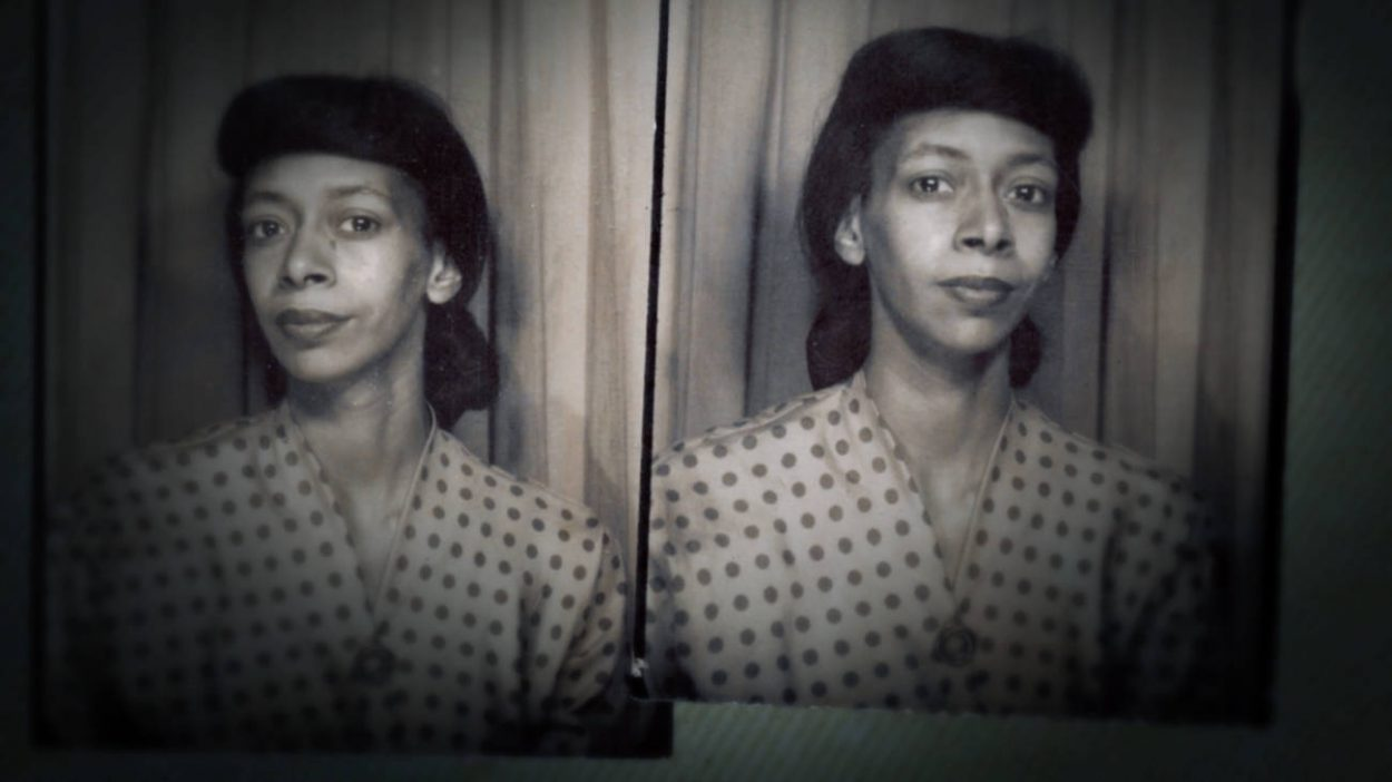 Black and white photobooth photos of Marion Stokes