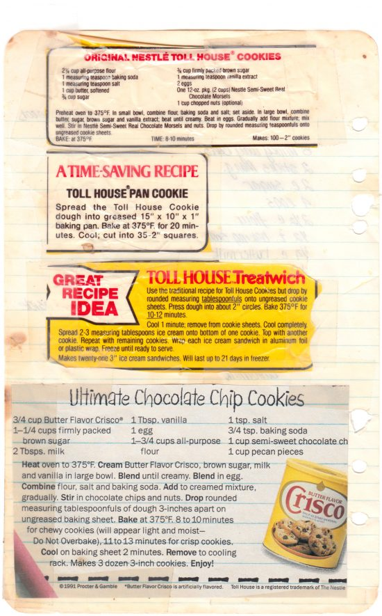 Chocolate chip cookie recipes from my mom's recipe notebook