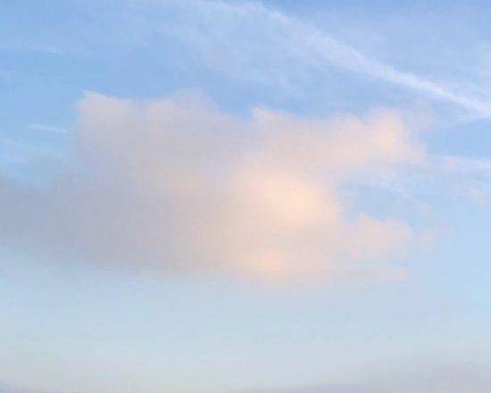 Cirrostratus and cumulus clouds at dusk