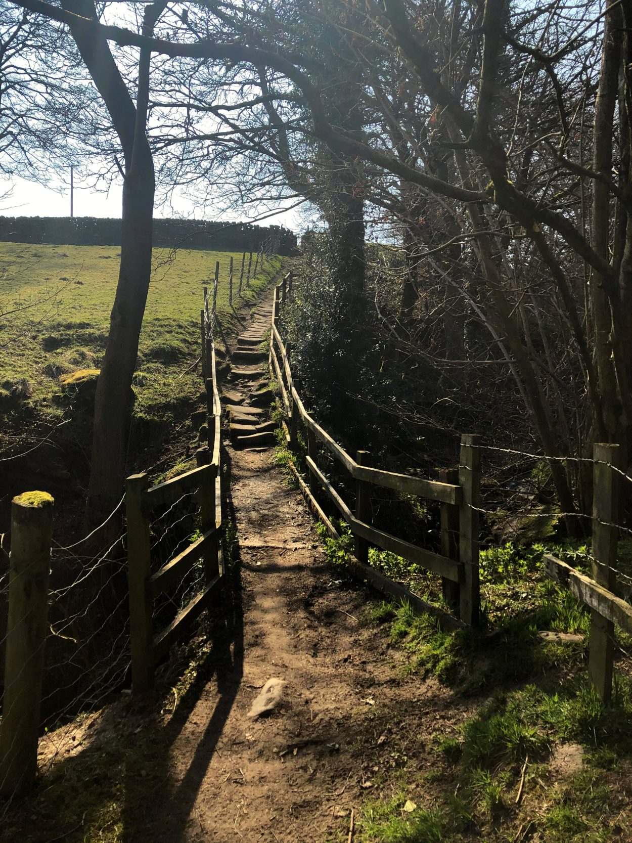 A public footpath with stairs in Addingham, West Yorkshire