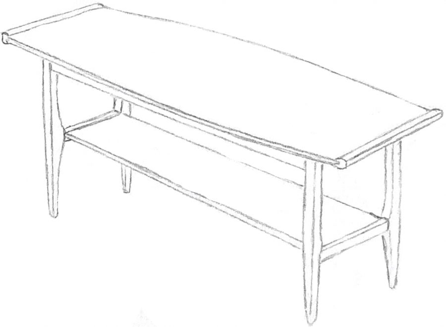 Drawing of a mid-century coffee table