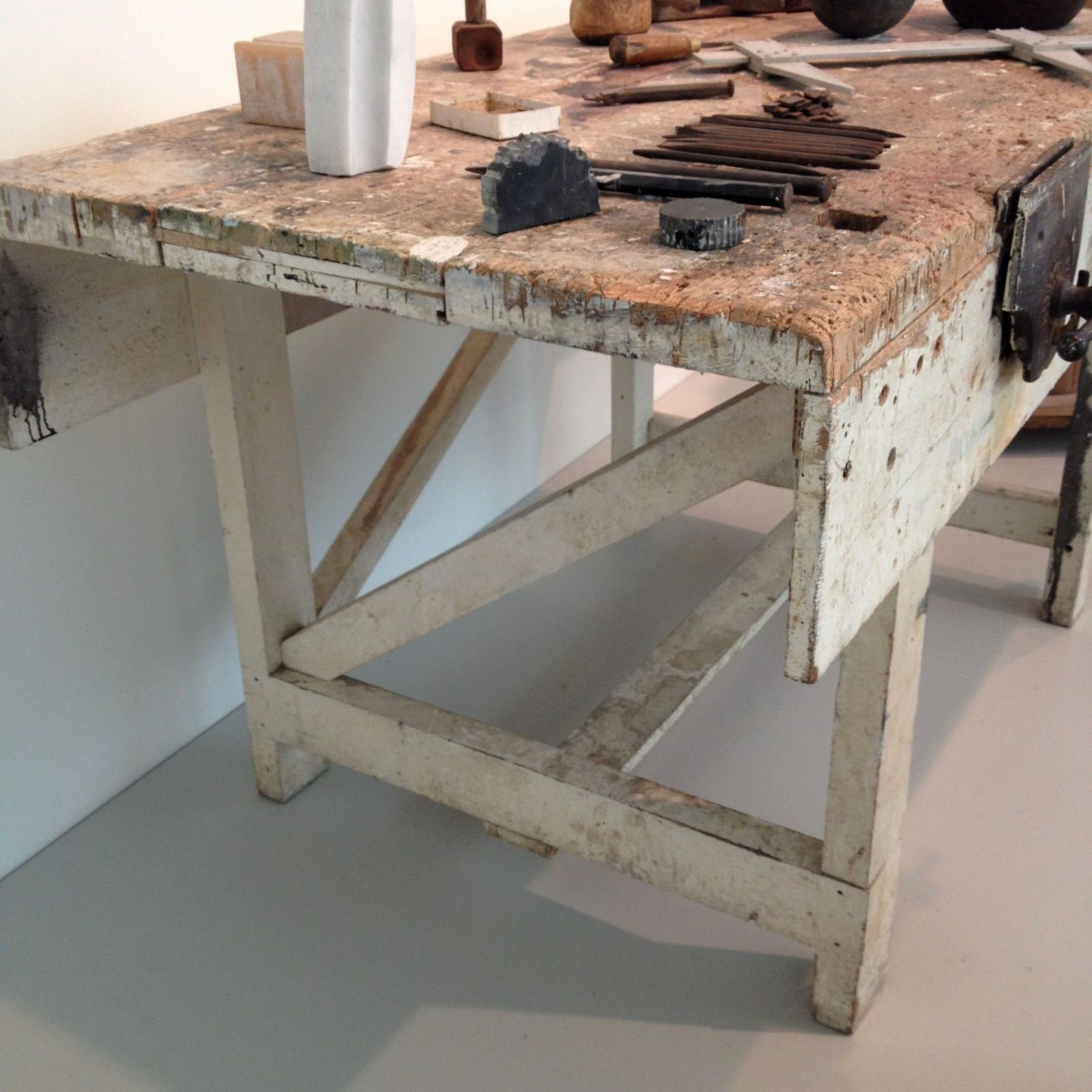 Barbara Hepworth's well-worn workbench at the Hepworth Gallery in Wakefield, West Yorkshire