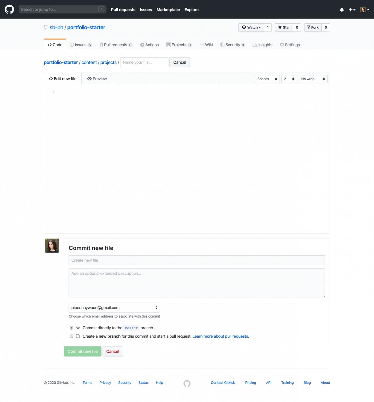 Screenshot of GitHub's file creation screen