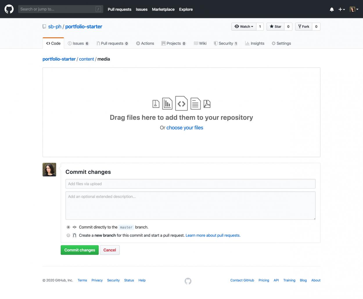 Screenshot of GitHub's file upload screen