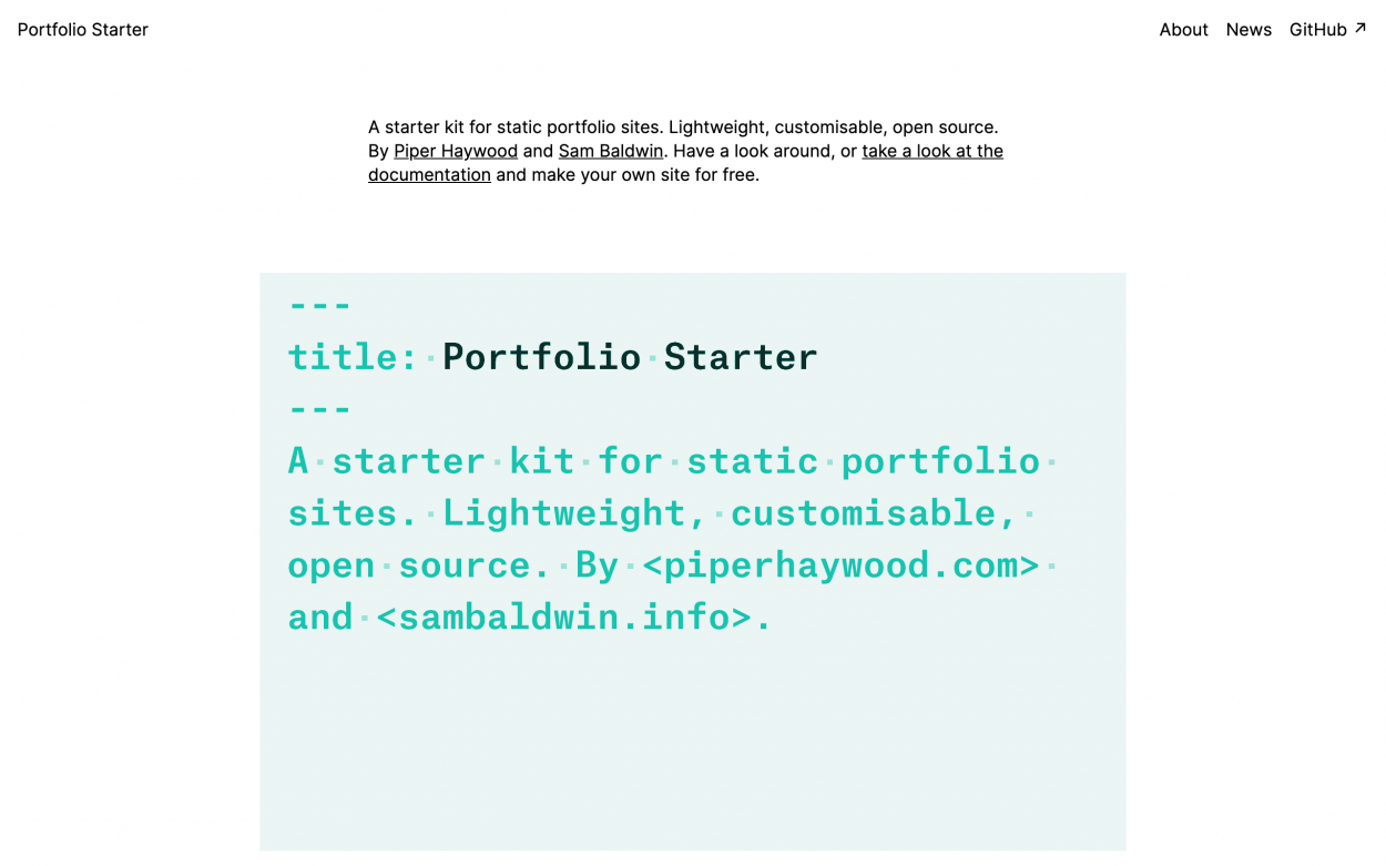 Screenshot of Portfolio Starter