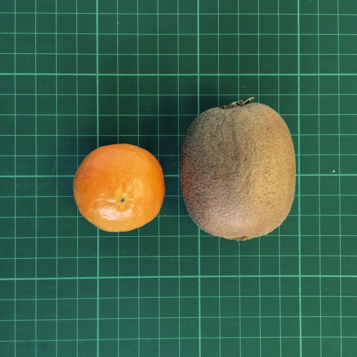 A tiny tangerine next to a kiwi on a cutting mat