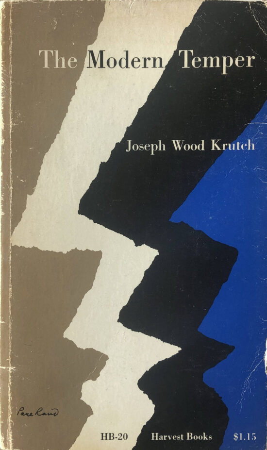 "The cover of the book ""The Modern Temper"" by Joseph Wood Krutch, designed by Paul Rand with four zig-zag shapes in beige, white, black, and blue"