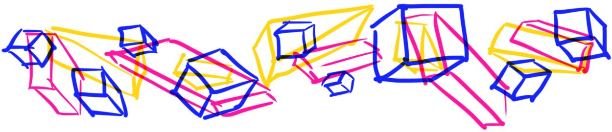 Illustration of blocks in blue, yellow, and pink