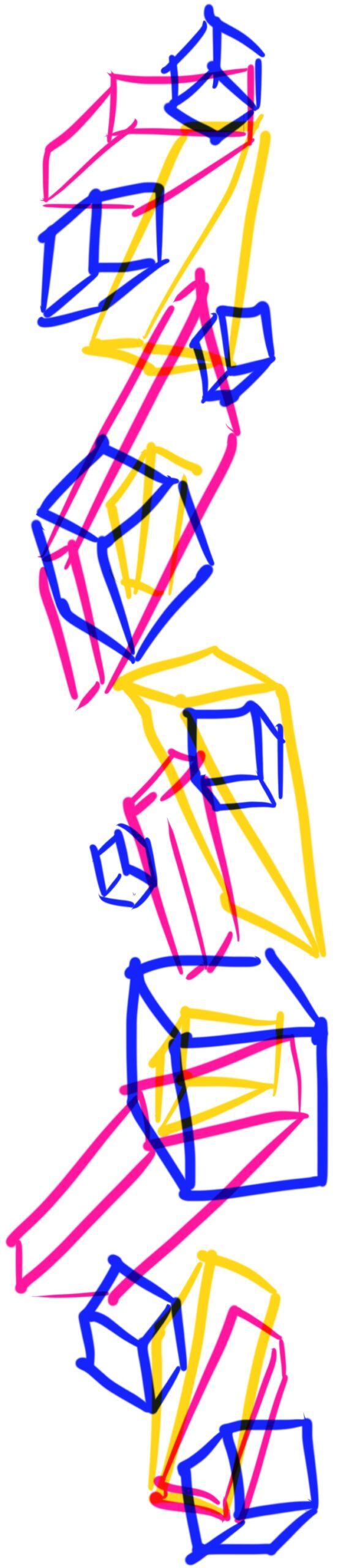 Illustration of blocks in yellow, pink, and blue