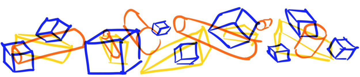 Illustration of blocks in blue, orange, and yellow