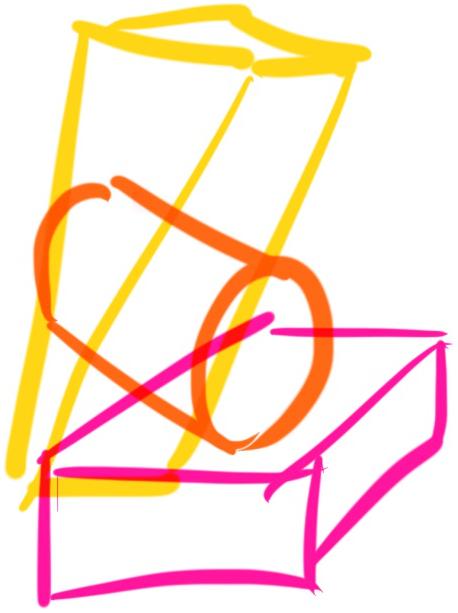 Illustration of blocks in yellow, orange, and pink
